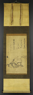 """JAPANESE HANGING SCROLL ART Painting """"Hotei"""" Asian antique  #E7886"""
