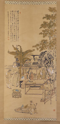 """JAPANESE HANGING SCROLL ART Painting """"Oath of the Peach Garden"""" Chinese  #E7869"""