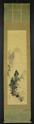 JAPANESE HANGING SCROLL ART Painting Scenery Asian antique  #E7887
