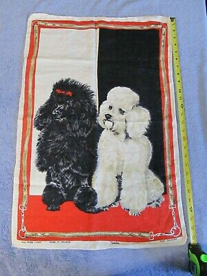 Vintage Made in Ireland Ulster 100% Linen Tea Towel w/ Black & White Poodles EXC