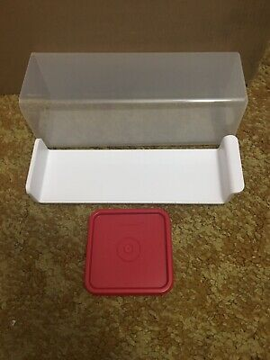 TUPPERWARE Velveeta Cheese Keeper Red Seal *NEW* White Tray Large Butter Cheese