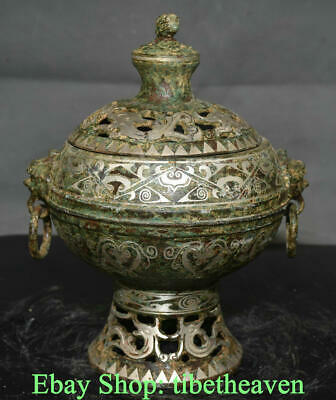 "8.8"" Antique Chinese Bronze Ware Silver Dynasty Palace Lion Ear Incense Burners"