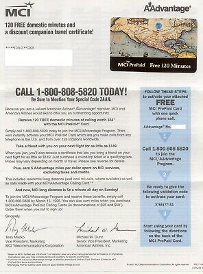 1998 MCI/AAdvantage - American Airlines Phone Card - 120 Minutes