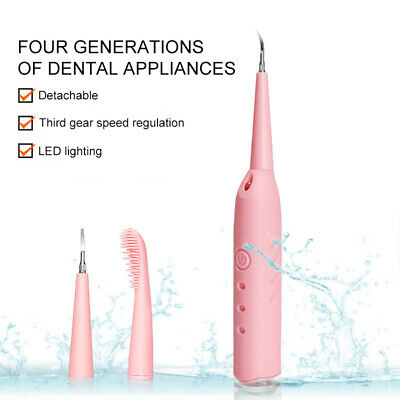 Portable Electric Sonic Dental Scaler Tooth Calculus Removal Teeth Stains +Brush