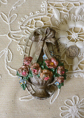 Antique 1920s HUBLEY Cast Iron Door Knocker BASKET PINK ROSES 124 Vintage Gold
