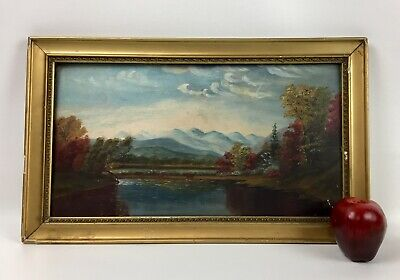 Antique 19Th Century American Hudson River Painting Landscape - Nice!!