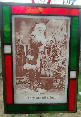 Kiln Fired Stained Glass Santa Claus - Christmas Vintage Photo c1910 - Ornament