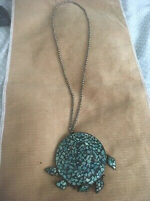 Antique Vintage India Made Brass Turquoise Pendant With Necklace
