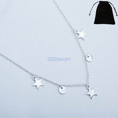 925 Sterling Silver Real Stars Round Pendant Necklace For Women Retro Jewelry