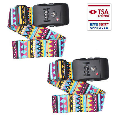 "2pcs TSA Luggage Straps for Suitcases Non-Slip Extends 47""- 78.9''(120-200cm)"