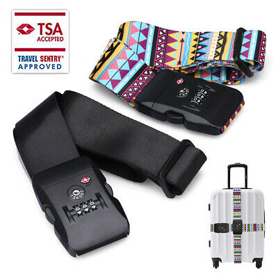 3-dial TSA Security Approved Lock - Long Adjustable Suitcase Packing Belt Travel