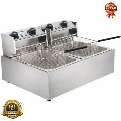 Silver Electric Twin Deep Fryer Commercial Portable Table top Home Outdoor Fryer