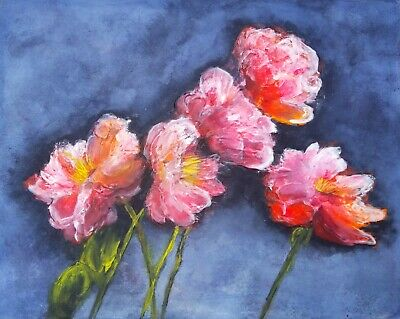 Original Poppies Watercolour and Acrylic Painting Signed by Artist