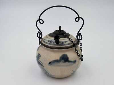 Antique Asian Vietnam Chinese Porcelain Pottery Opium Vessel Set Blue Pot