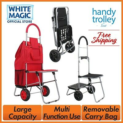 White Magic Foldable Cart Shopping Handy Dolly Trolley with Seat - 4 Colours