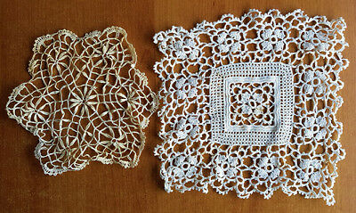 Doilies (2), one square white crocheted, one very old lace, possibly antique