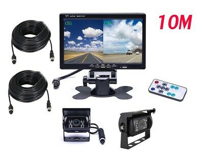 "7"" Quad Split Rear View Monitor+ 4PIN Backup Camera*2 Truck VAN Trailer USA"