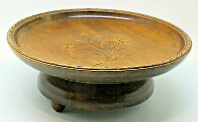 Vintage SWISS MUSICAL WOODEN BOWL PLATE WIND UP MUSIC MECHANISM