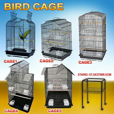 Pet Bird Cage Finch Perch Black Portable w/ Perches Parrot Aviary Canary Budgie