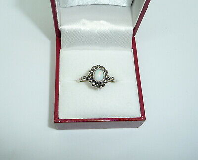 Vintage Art Deco Style 9ct Gold & Silver Opal & Marcasite Ring