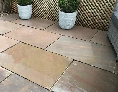 Autumn Brown blend Sandstone Paving Natural Indian patio slabs 600x900