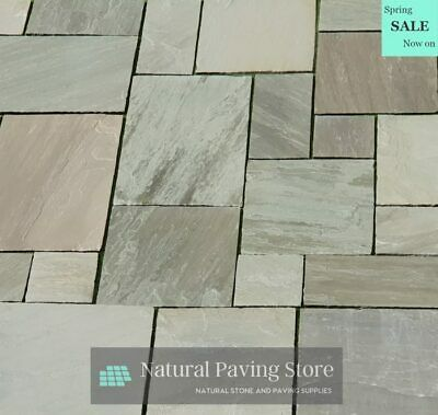 Kandla Grey Mixed Sizes Sandstone Paving Natural Indian patio slabs 19.5 SQM ...
