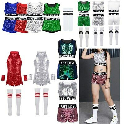 Kids Hip-hop Jazz Dance Costumes Street Dancing Dress Sequins Performance Outfit