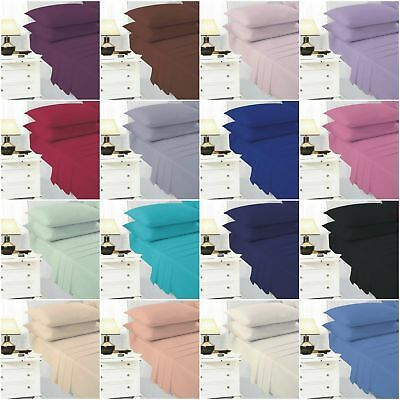 Flat Bed Sheet Plain Dyed Polycotton and Pillow cases Single double King sizes