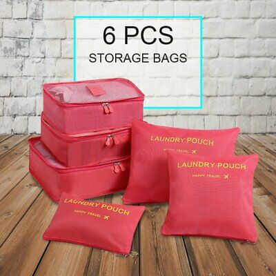 6 PCS Travel Bags Packing Cubes Storage Bags Pouches Luggage Clothing Organizers