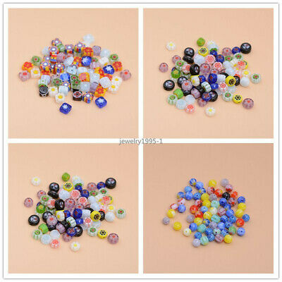 Round/Square/Round Flat Back Millefiori Glass Bracelet Spacer Beads 4/6/8mm