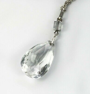 Sterling Silver Art Deco Necklace Delicate 1920s 1930s Crystal Drop Pendant
