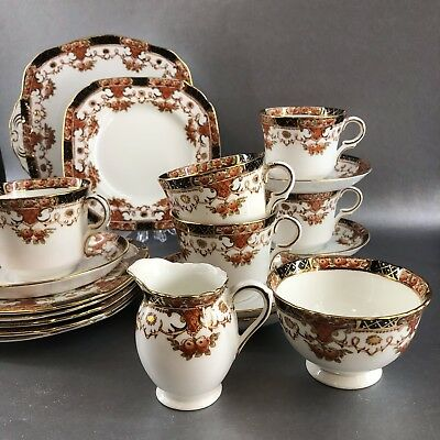 19 Piece Sutherland Bone china England Tea Snack Set Teacup Saucer Cake Plate