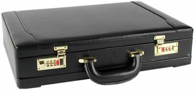Mens Professional Leather Briefcase with Golden Combination Locks Look Executive