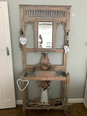 Beautiful Antique/Vintage Limed Oak Hall Coat Stand Carved
