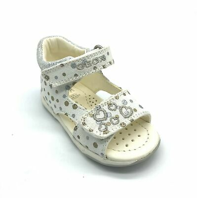 Geox Baby Tapuz G.A White/Silver Girls Sandal 40% OFF RRP