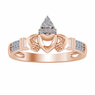 0.10 Ct 10K Rose Gold Finish Ladies Claddagh Engagement Promise Wedding Ring