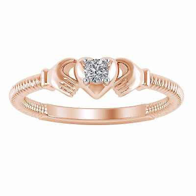 0.10 Ct 10K Rose Gold Finish Claddagh Fashion Engagement Wedding Bridal Ring