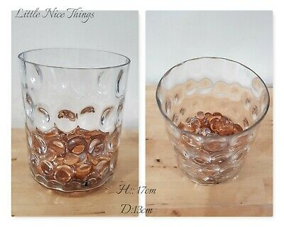 Clear glass dimple effect cylinder flowervase with decorative gold glass pebbles