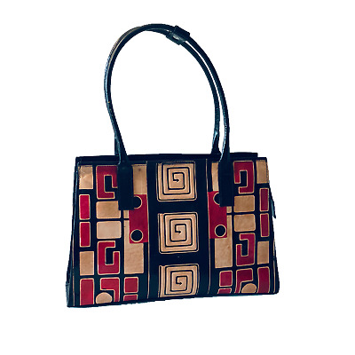 Hand painted Leather Indian Shantiniketan casual Vintage shoulder bag Red, Black