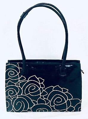 Hand painted Leather Indian Shantiniketan casual Vintage shoulder bag Black