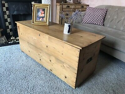 Large Antique Pine Blanket Box/coffee Table/chest