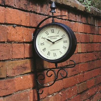 Garden wall station clock vintage antique style train victorian theme ornament