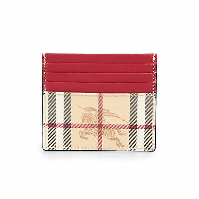Burberry Burberry Sandon Trench Print Check and Crimson Red Leather Card Case