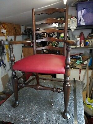 Rare 18th Century Solid Oak Ladder Back Chair with leather seat