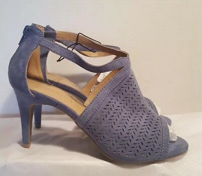 ca79009d3 Lane Bryant Perforated Laser Cut Peep Toe Heel Sandals Dusty Blue Size 8W  NWT