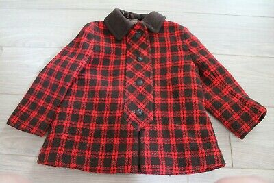 Children's True Vintage 1960's Red and Brown Rob Roy Checked Coat Age 4
