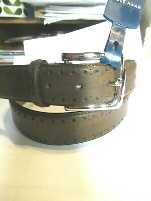 NWT NEW Cole Haan Leather Mens Belt SZ 38 Perforated Trim Dress Brown