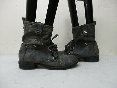 2 Lips Too Fixate Gray Lace Up Canvas Combat Fashion Boots Womens Size 7.5 M