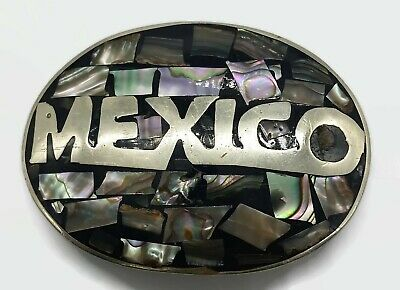 Vintage Belt Buckle Alpaca Mexico Abalone Mother of Pearl Shell Inlay