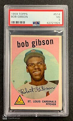 1959 Topps Bob Gibson St Louis Cardinals Rc Rookie Card #514 Psa 3 Vg Condition